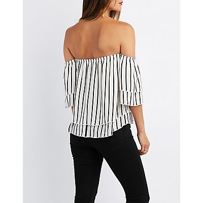 Striped Tiered Off-The-Shoulder Top