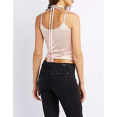Satin Choker Neck Tank Top