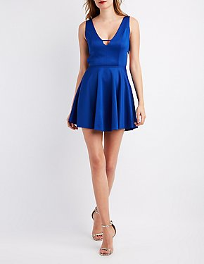 V-Neck Caged Skater Dress