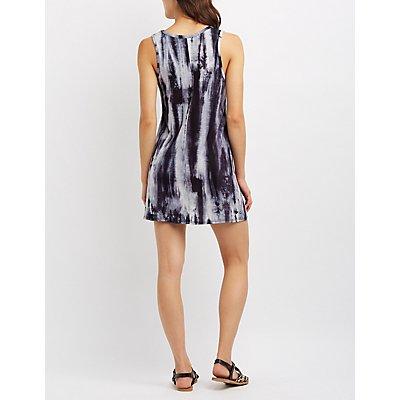 Tie Dye Cut-Out Swing Dress