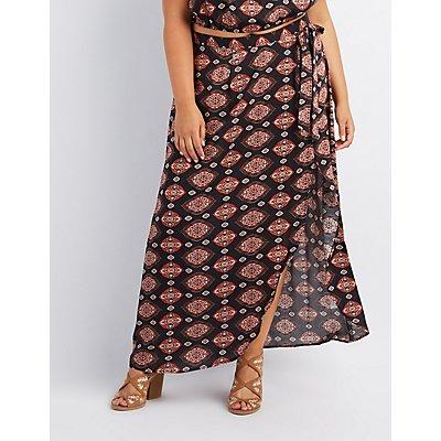 Plus Size Printed Maxi Wrap Skirt