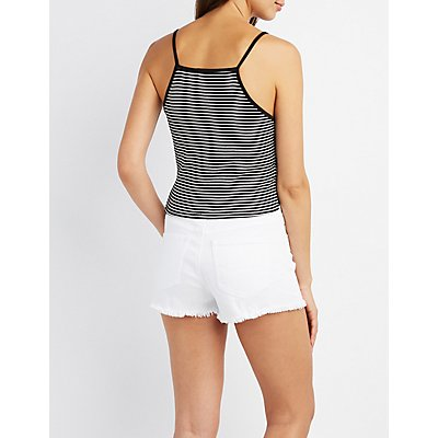 Striped Crochet-Hem Tank Top
