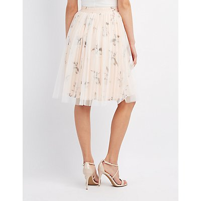Floral Tulle Overlay Skirt