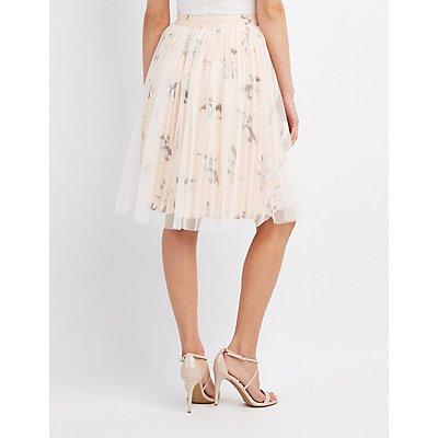 Floral Tulle Overlay Skirt