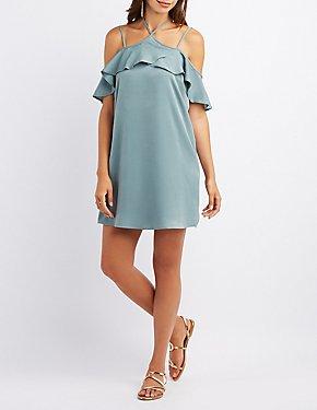 Ruffle-Trim Halter Cold Shoulder Dress