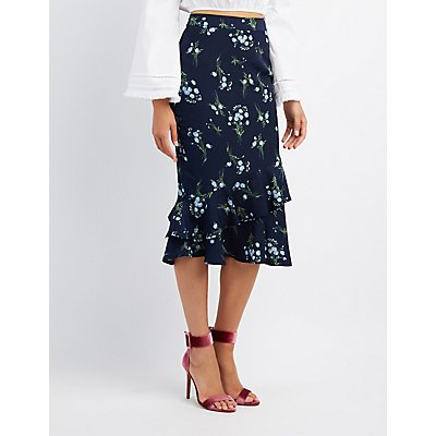 Floral Tiered Pencil Skirt
