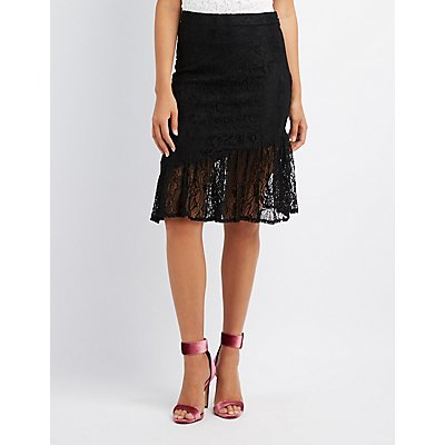 Ruffle-Trim Lace Pencil Skirt