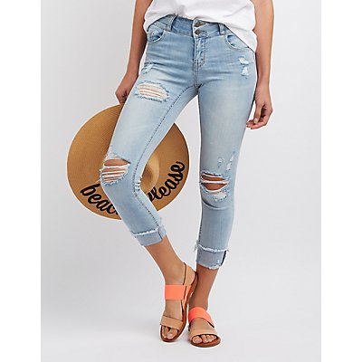 Cello Destroyed Cropped Skinny Jeans