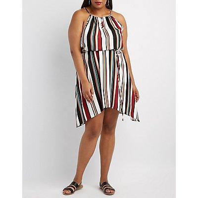 Plus Size Striped Bib Neck Dress