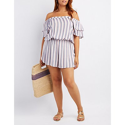 Plus Size Striped Off-The-Shoulder Romper