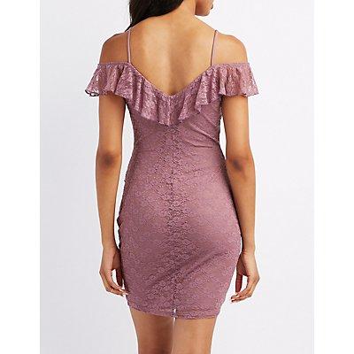 Lace Ruffle-Trim Cold Shoulder Dress