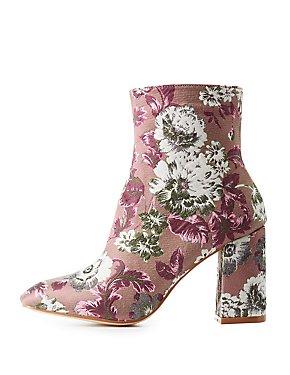 Floral Brocade Ankle Booties