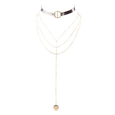 Metal O-Ring Choker & Tiered Lariat Necklaces - 2 Pack