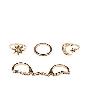 Embellished Stacking Rings - 4 Pack