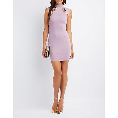 Mock Neck Lattice-Inset Dress