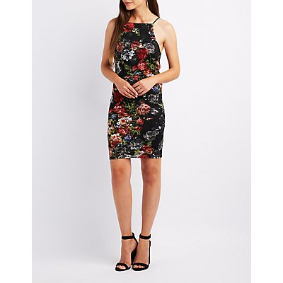 Floral Lace Bib Neck Dress