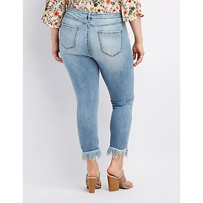 Plus Size Cello Frayed Hem Destroyed Skinny Jeans