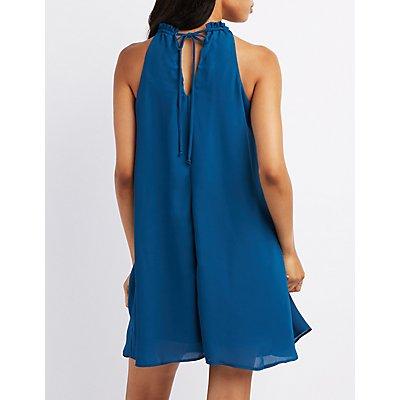 Lace-Trim Bib Neck Shift Dress