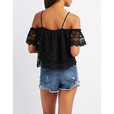 Crochet-Trim Lace Cold Shoulder Top