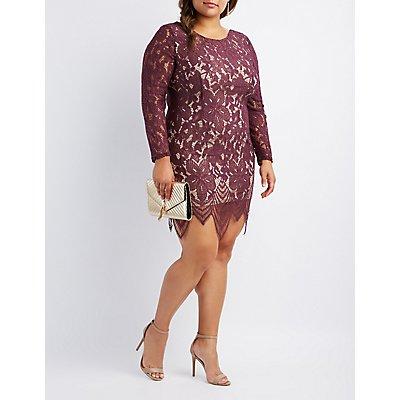 Plus Size Eyelash Lace Bodycon Dress