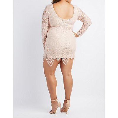 Plus Size Eyelash Lace Bodycon Dress
