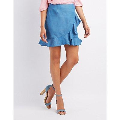 Ruffle-Trim Chambray Skirt