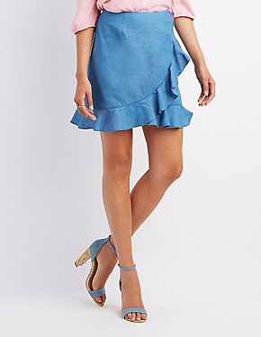 Ruffle-Trim Chambray Skirt