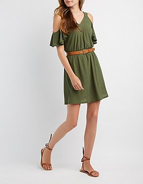 Lattice Cold Shoulder Skater Dress
