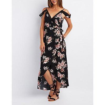 Floral Lace-Trim Cold Shoulder Wrap Dress