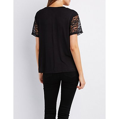 Dragon Graphic Lace-Trim Tee