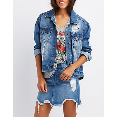 Refuge Destroyed Oversize Denim Jacket