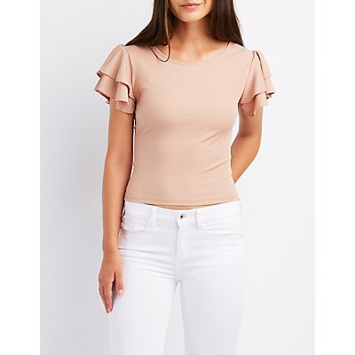 Ruffle Sleeve Strappy-Back Top