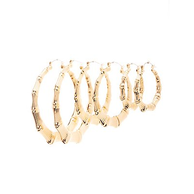 Bamboo Hoop Earrings - 3 Pack