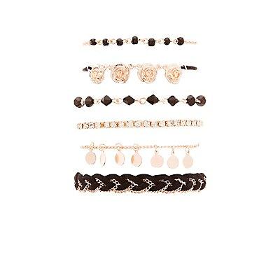 Rose Embellished Layering Bracelets - 6 Pack
