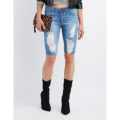Machine Jeans Destroyed Denim Bermuda Shorts