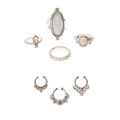 Faux Septum & Statement Rings Set