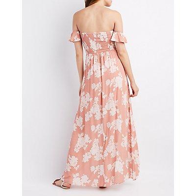 Floral Smocked Off-The-Shoulder Maxi Dress