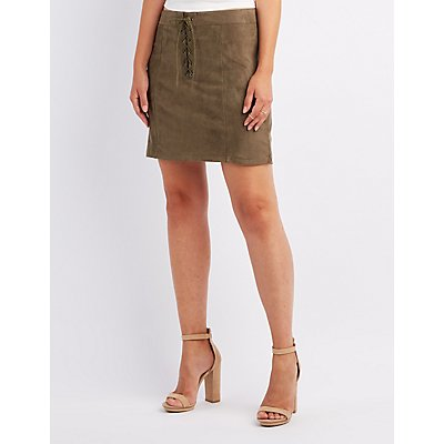 Faux Suede Lace-Up Skirt