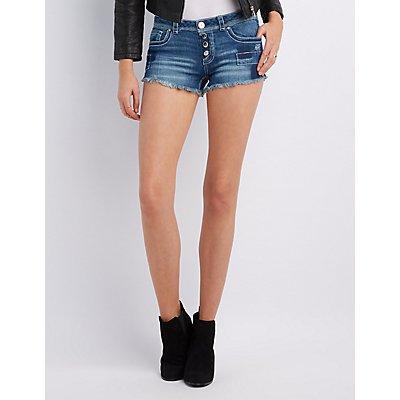 Patchwork Denim Cut-Off Shorts