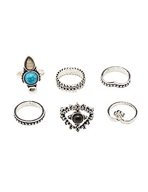 Embellished Stacking Rings - 6 Packs