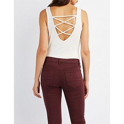 Lattice-Back Crochet-Hem Crop Top