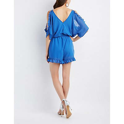 Embroidered Cold Shoulder Surplice Romper