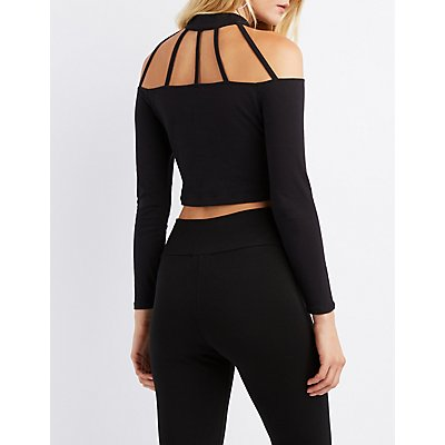 Caged Mock Neck Crop Top