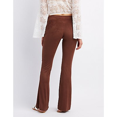 Faux Suede Flare Pants
