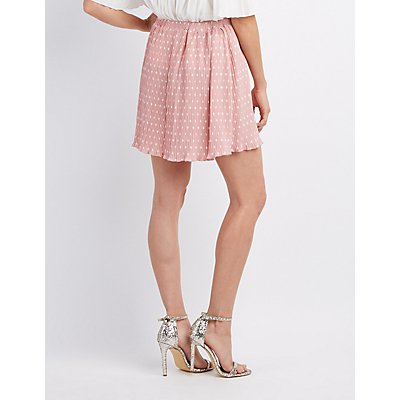 Printed Pleated Skater Skirt