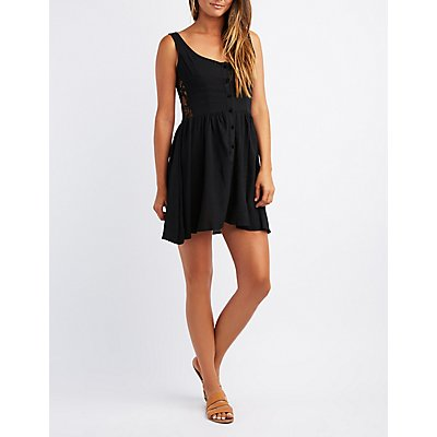 Lace-Trim Button-Up Skater Dress