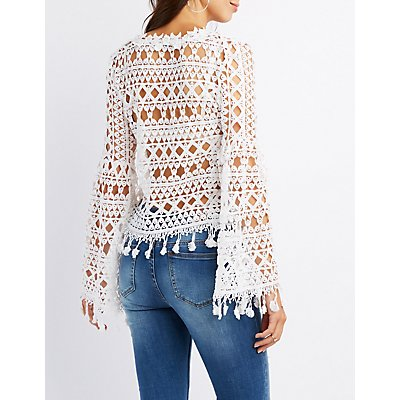 Crochet Bell Sleeve Tassel Top