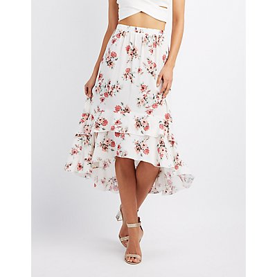 Floral Tiered Maxi Skirt
