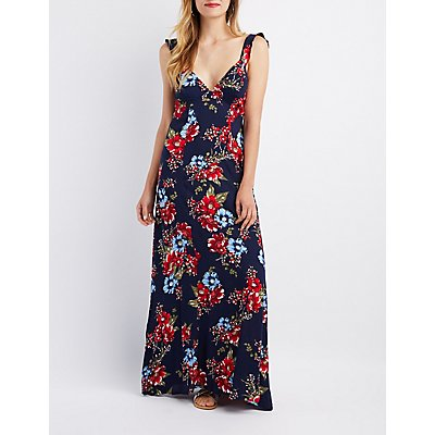 Floral Tie-Back Maxi Dress