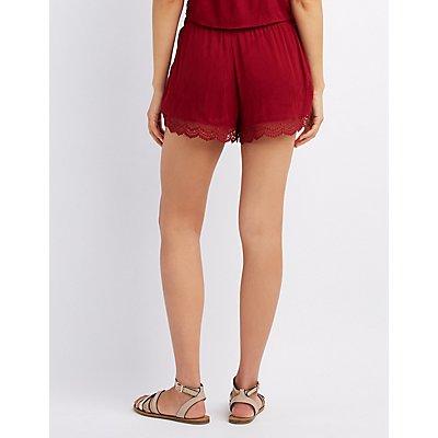 Crochet-Trim Tulip Shorts